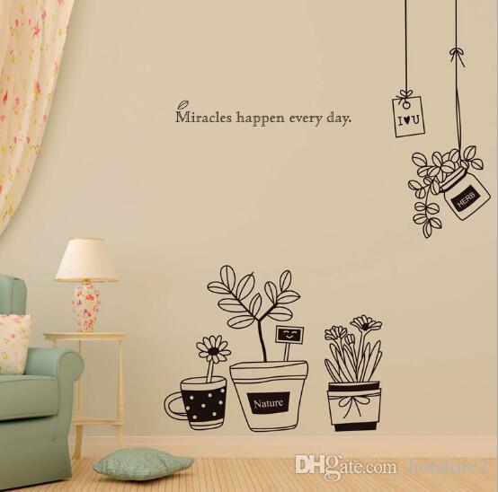 Simple black flowerpot wall stickers Bedroom living room TV corridor children's room decoration stickers creative fashion home popular