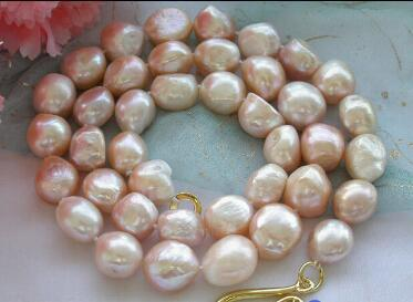 """necklace Free shipping +++24"""" 15mm pink baroque freshwater cultured pearl necklace"""