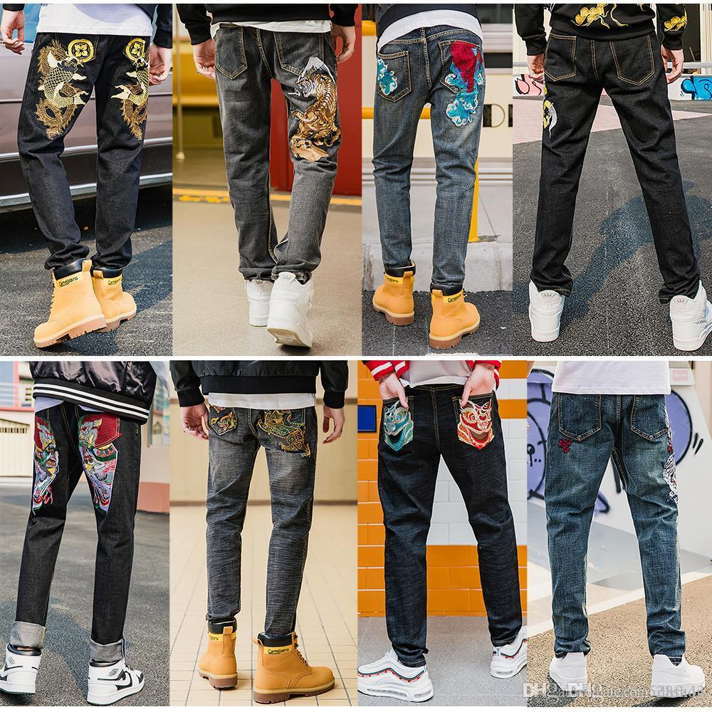 Primary Color Workmanship Embroidered Jeans for Men Slim Straight Pants Moto Biker Denim Trousers Variety Pattern