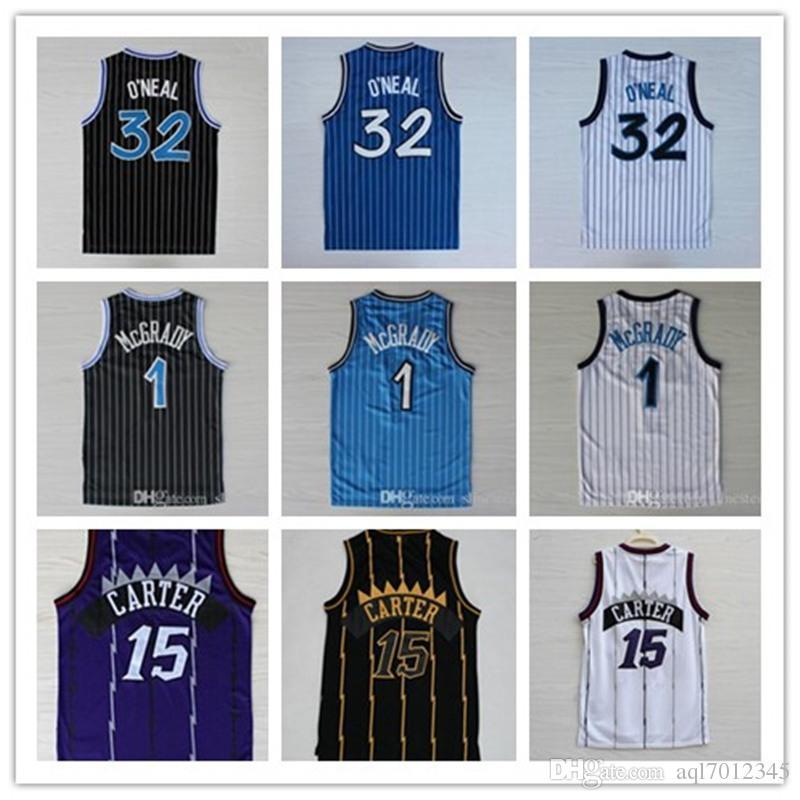 고품질 32 오닐 뉴저지 페니 (15) 카터 유니폼 트레이시 맥 그래 디 (1) 유니폼 스티치 대학 셔츠 남성 빈스 1 하더웨이 셔츠 농구