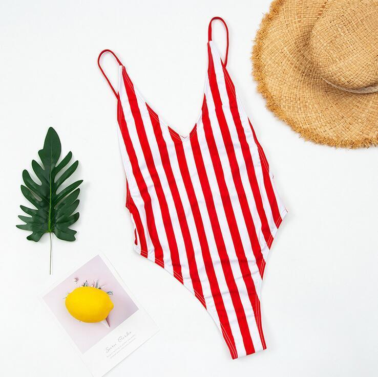 2020 traje de baño de la mujer traje de baño de la vendimia de una pieza del bañador sin respaldo V profundo traje de baño de las mujeres natación del Beachwear de Monokini bañista # 6A