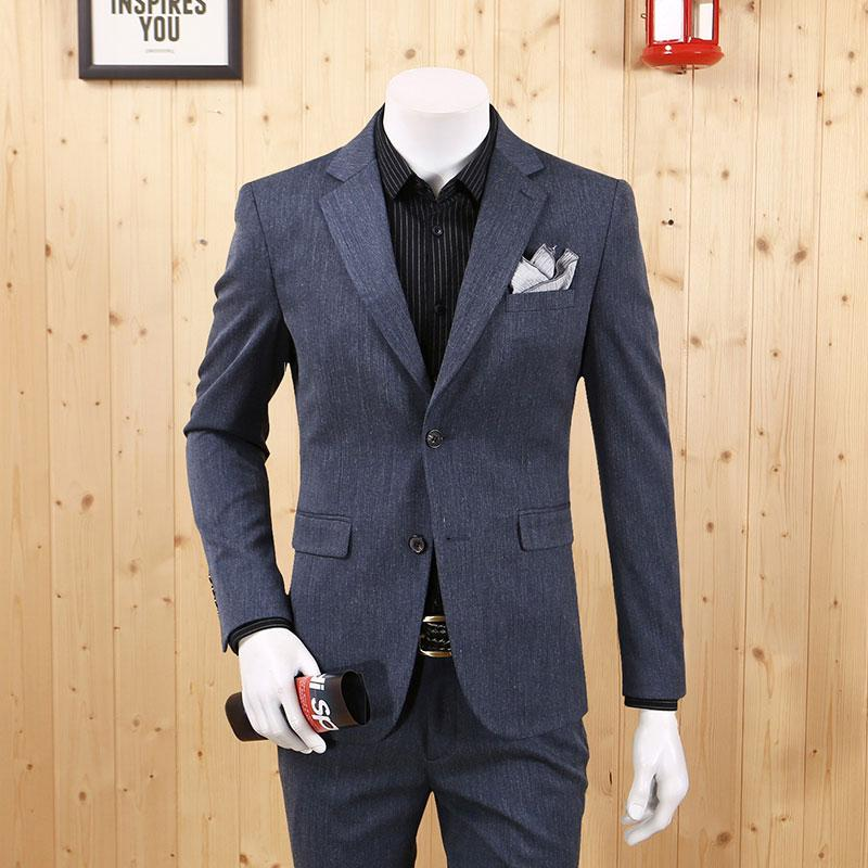 Men Formal Suits Blazers Fashion 2020 Grey Blue Retro Slim Single Breasted Full Sleeve Young Man Christmas Father Day Gift New