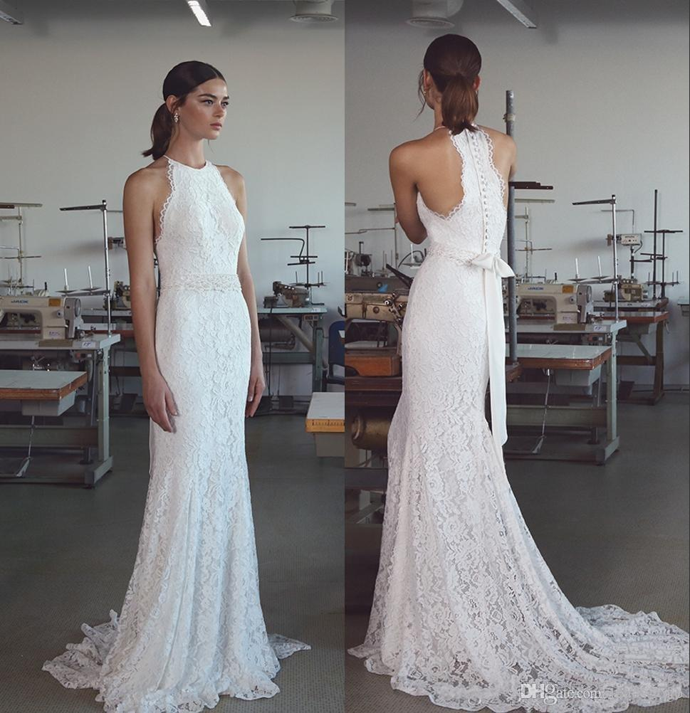 Vintage 2019 Lihi Hod Mermaid Wedding Dresses With Halter Neck Sweep Train Fully Classy Elegant Lace Trumpet Beach Bridal Gowns Australia 2020 From