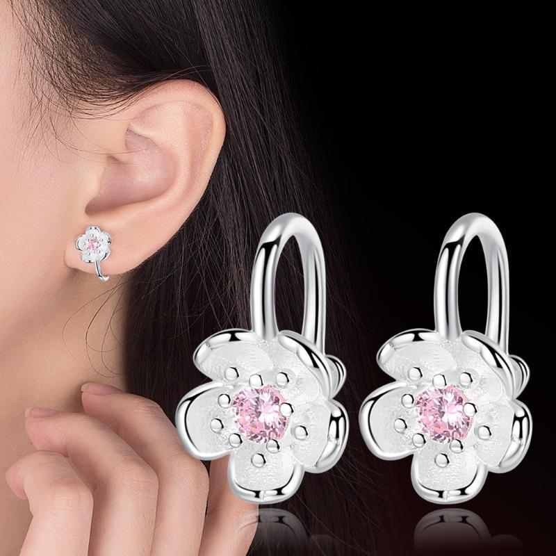 Anenjery romantici clip orecchio Cherry Blossoms nessun foro 925 clip Orecchini Sterling Silver fiore per le donne S-E626