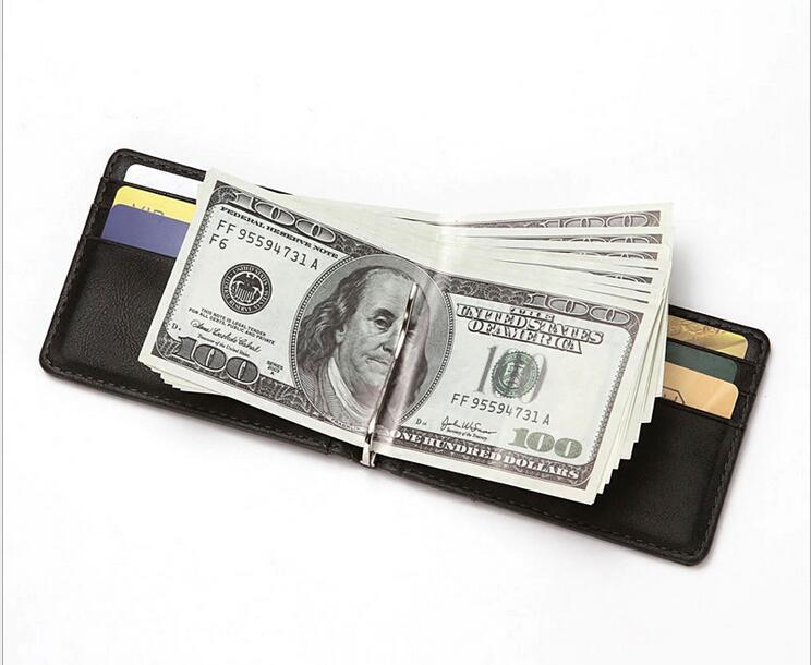 Мужского натуральной кожа Тонкого Бумажник кошелек RFID Блокировка держатель карты деньги клип