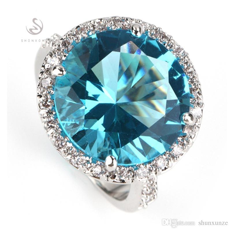 Shunxunze tijd beperkte korting engagement trouwringen voor mannen en vrouwen Dropshipping Blue Cubic Zirconia Rhodium Plated R750 Maat 6 - 12