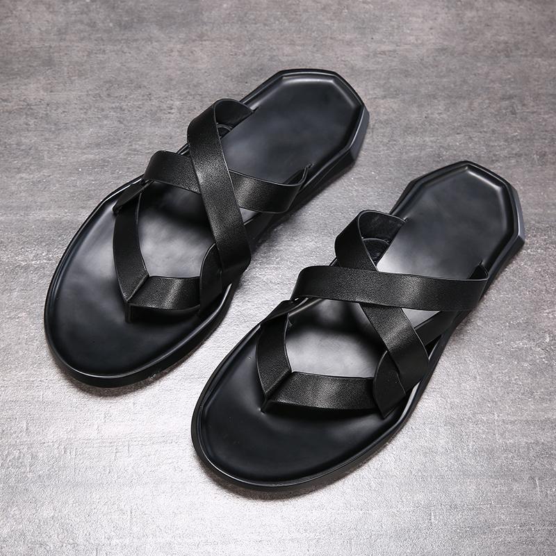 Men's sandal 2019 new summer top layer leather shoes beach shoes casual breathable non-slip soft soles sandal men