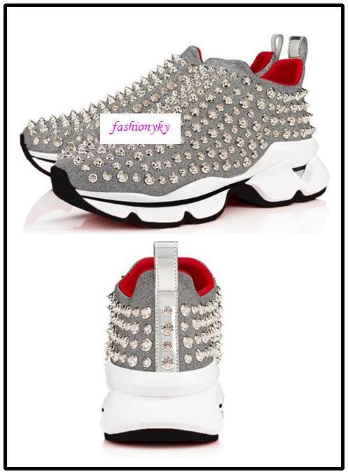 prodotto Krystal Spike calze sneaker piatto rosso in basso a rivetto Spiky calzini scarpe basse Donna uomini del progettista perno primario 0