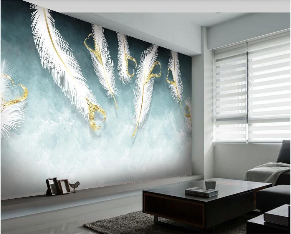 3d обои пользовательские фото Nordic небольшой свежий ручной росписью белой форме сердца перо фоне стены обои домашний декор для стен 3 д