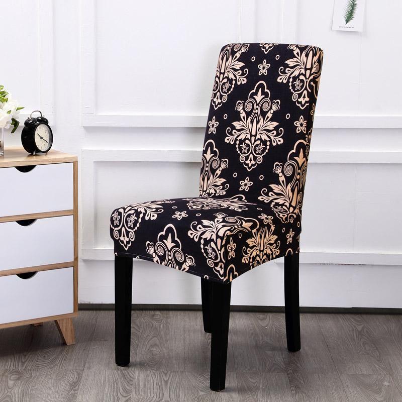 스판덱스 탄성 인쇄 식사 의자 커버 현대 이동식 안티 - 더러운 주방 좌석 연회를위한 케이스 스트레치 의자 커버