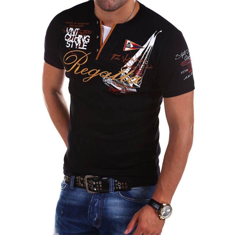 Zogaa 남성용 패션 짧은 소매 순수 컬러 폴로 셔츠 캐주얼 편지 단색 반대로 수축 Streetwear 슬림 셔츠 남자 SH190718