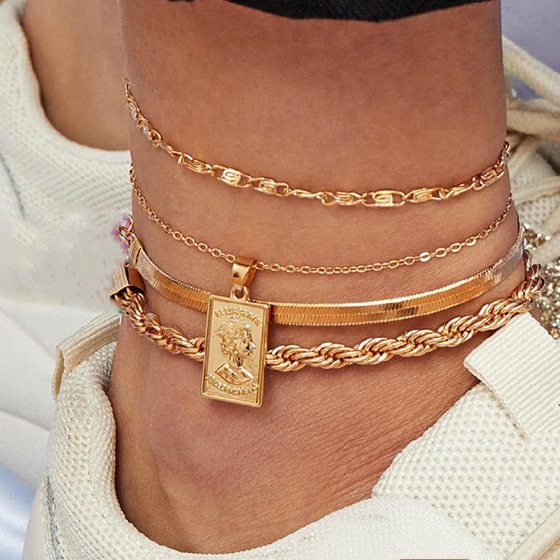 4 Stück / Set Böhmische Kopf-Portrait Anklet Set Schlangenkette Bein Fuß Armband Chunky Kette handgemachtes Armband-Set für Frauen Schmuck