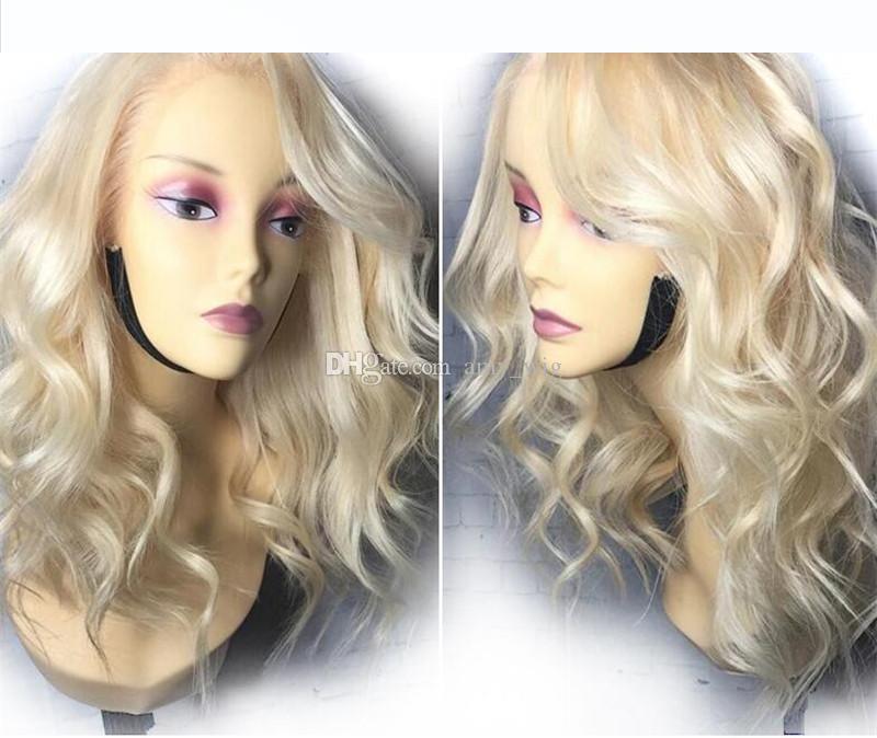 # 613 Rubio peruana onda del cuerpo humano 100% peluca llena del cordón del pelo pre arrancó Para Mujeres Negro 150% Densidad Con el pelo del bebé