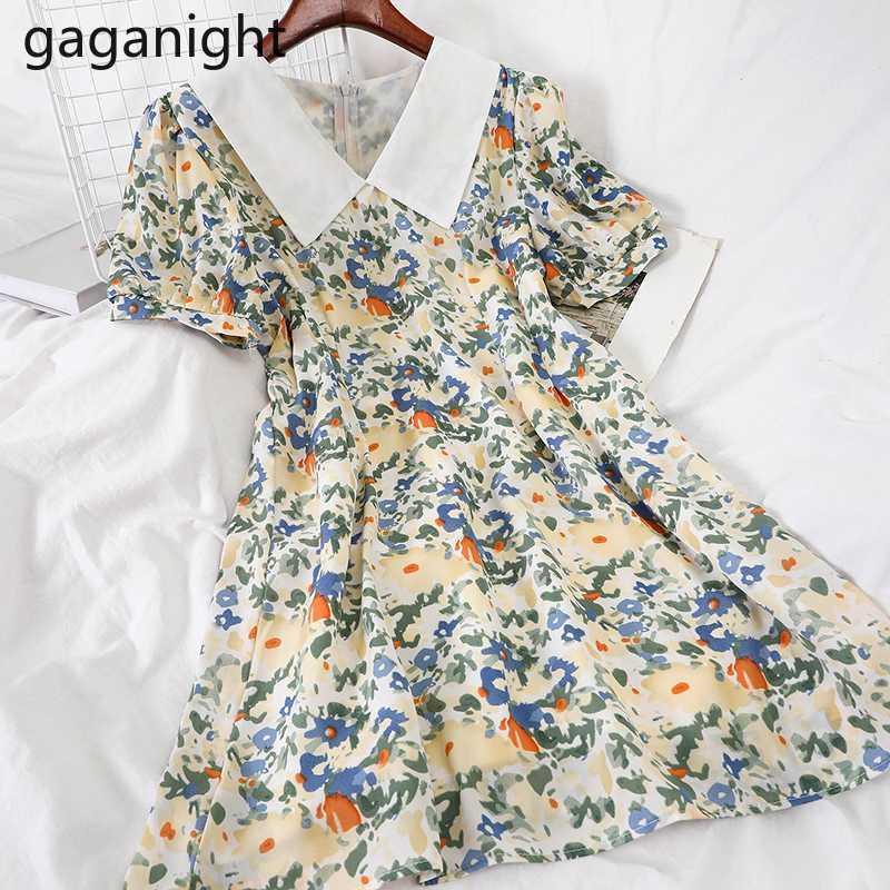 Gaganight Kadınlar Şifon Çiçek Vestidos Kore Yeni Stil V Yaka Kısa Kollu Mini Elbiseler Yaz Seaside Elbise Casual Lady