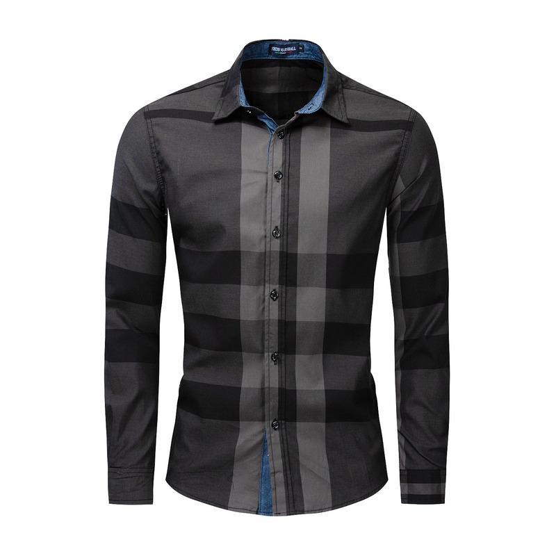 Shirts pour homme 2020 Taille European American Plus New Cotton Men manches longues Chemise Palette de couleurs Chemise à carreaux Vêtements pour hommes