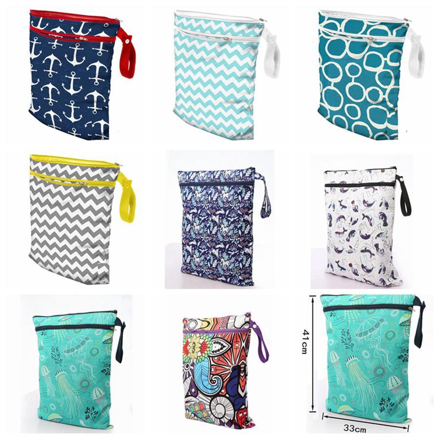 Di stampa del fumetto del sacchetto di immagazzinaggio bambino Protable pannolino lavabile riutilizzabile asciutto bagnato Panno cerniera impermeabile Diaper Bag pannolini per neonati RRA2714