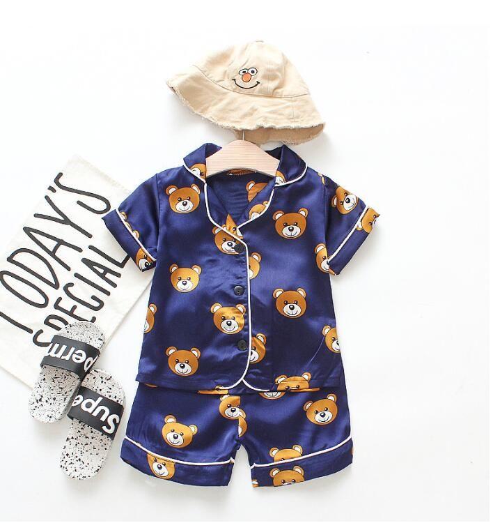 2-6 años bebé mezclas de algodón de manga corta pijamas camisón ropa de dormir niñas niños ropa interior niños camisón niños pjms JLY 002