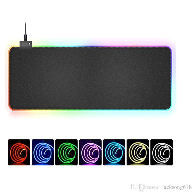 وصول جديد الألعاب ماوس الوسادة RGB مثل MousePad كبير نقاط الفأر الكبير مات الحاسوب ماوس الفأر الإضاءة الخلفية LED XXL السطحية Mause الوسادة DeskMat لوحة المفاتيح