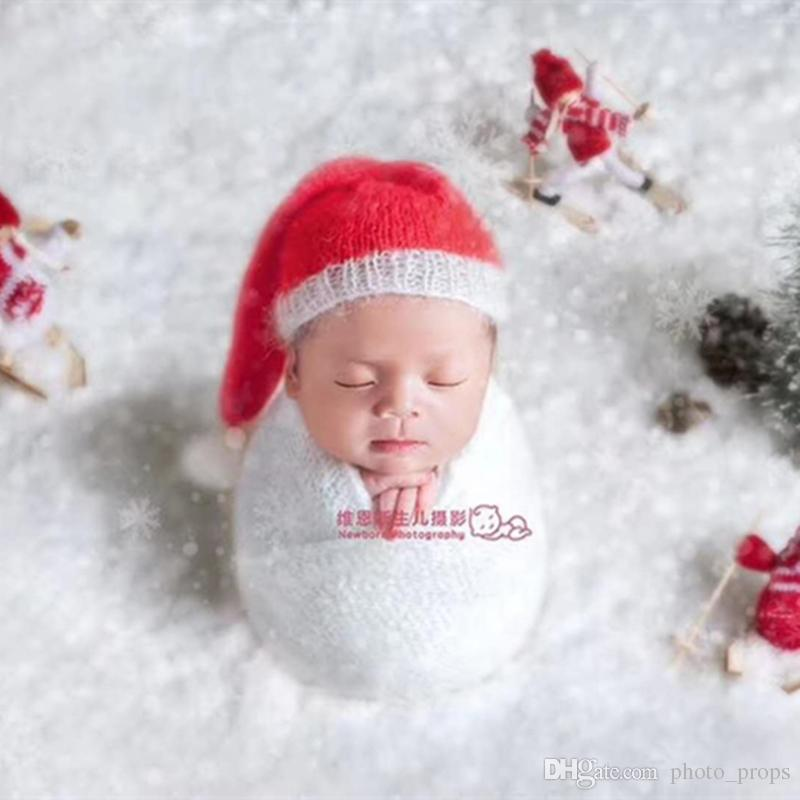 Newborn Christmas Pictures.2019 Kids Crochet Santa Hat Father Christmas Bonnet Newborn Christmas Prop Red And White Santas Elf Christmas Knit Hat From Photo Props 9 2