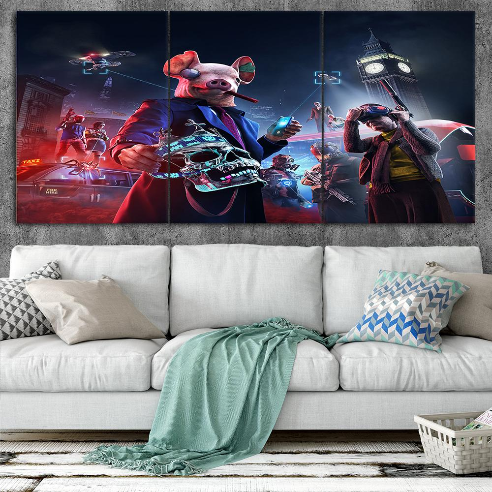 Watch Dogs Legion Art Style A1 Canvas Posters Home Decor Wall Art Framework 3 Pieces Paintings For Living Room HD Prints Game Pictures