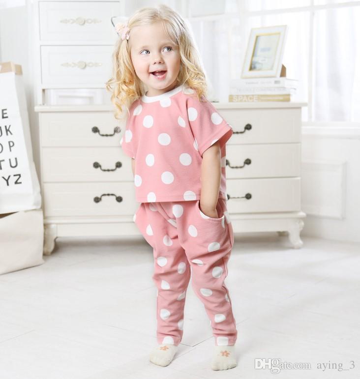 Kızlar Set ins Patlayıcılar Nokta Baskı Kısa Kollu Üst + Harlan Pantolon İki Adet Set