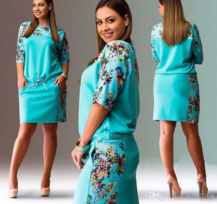 Sommer neue Ankunfts-Rundhals halben Hülse digit Druck Taille Big Code Fett MM Kleid der Frauen einteiliges Kleid beiläufige bunte Frische Mädchen