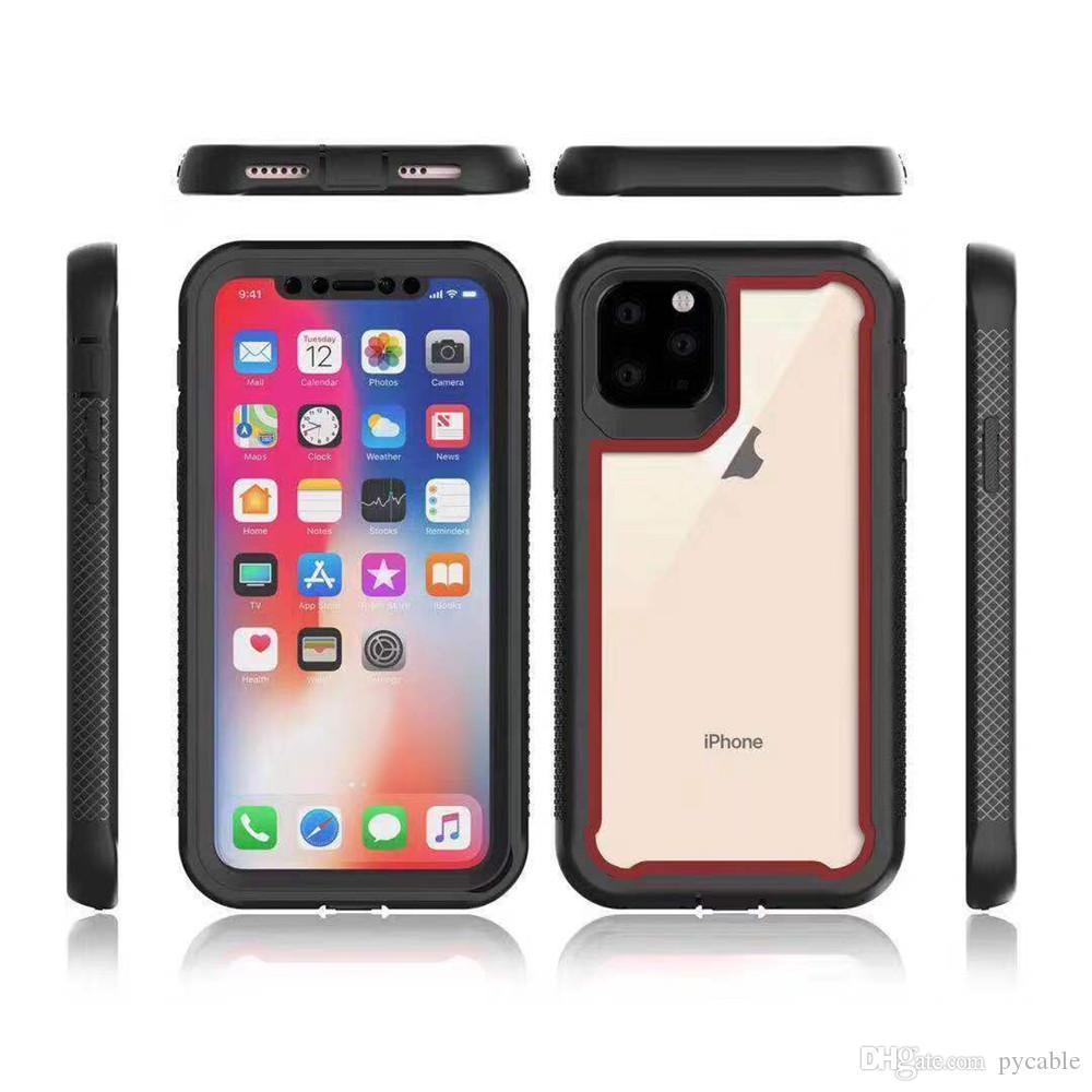 Para Iphone 11 Armadura híbrido caso do PC + Soft TPU Acrílico Capa para iPhone 6 7 8 Plus XS MAX XR X 11 Pro Max Cystal Phone Case Robot