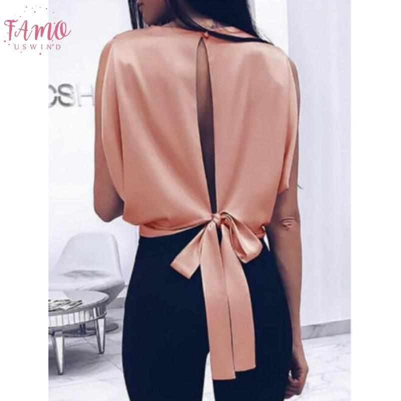 Blouses femmes sexy bowknot dos nu Chemises manches O Chemisier col femmes Bandage Tops Taille Plus solide Femme