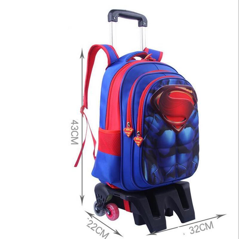3PCS Kids Boy Students School Bag Removable Wheel Trolley Backpack Satchel Tote