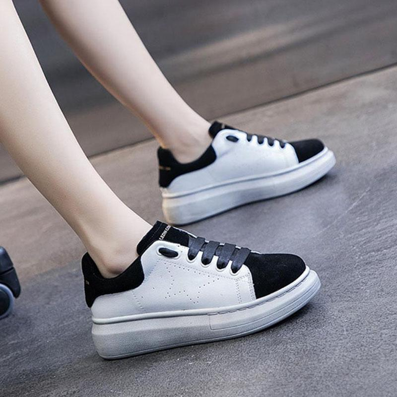 Frühling und Herbst echtes Leder Kleine weißen Schuhe Mode Wilde einfache festen Farbe starke untere Lace-up beiläufige Plattform-Schuhe