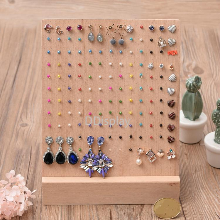 [DDisplay]Nature Solid Wood Jewelry Stand Fantasy Earring Storage Board 140 Holes Earring Studs Holder Organizer