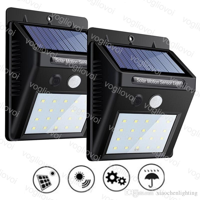 Solar Security Lights Motion Sensor 3Model 20 30 35LEDs Outdoor Lighting Waterproof ABS 6500K For Home Garden Yard DHL