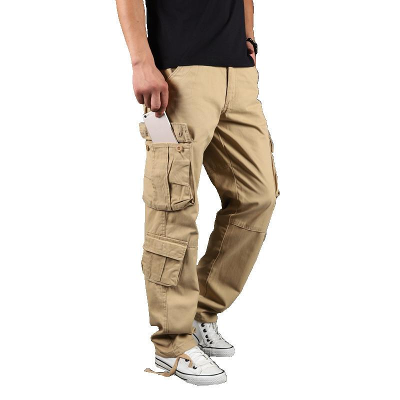 Men's Cargo Pants Casual Cotton Multi Pockets Overalls Tactical Pants Streetwear Army Straight Slacks Long Trousers 44