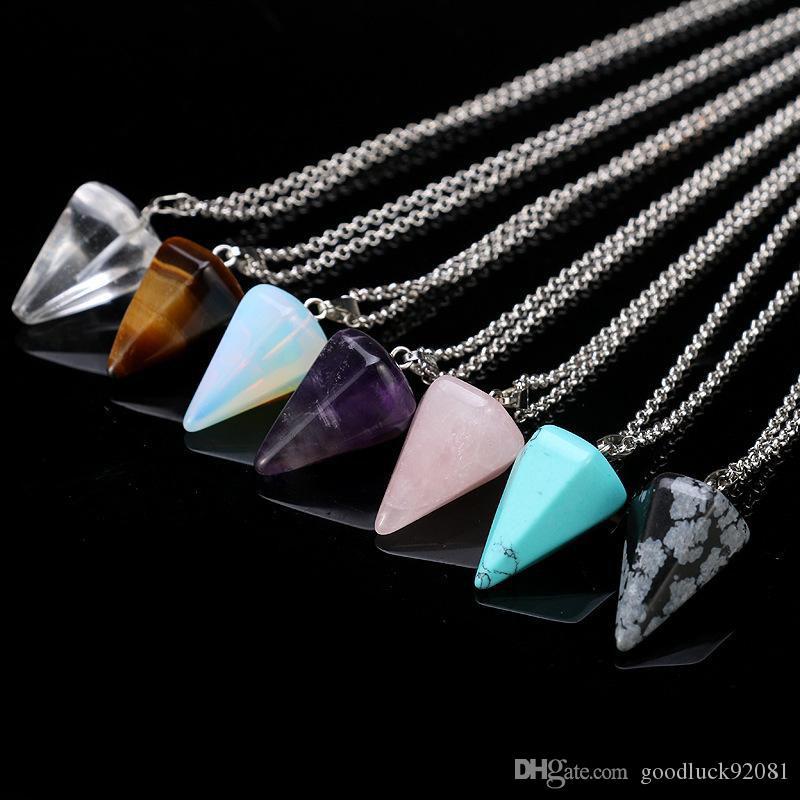 Natürliche Edelstein-Anhänger-Halskette Kristallheilung Chakra Reiki Silber Stein Hexagonal Prisme Kegel Pendulum Charm Ketten