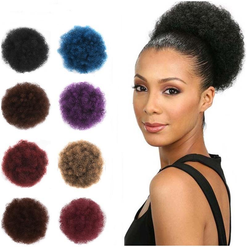 Afro Puff Sentetik Saç Bun Chignon postiş için Kadınlar İpli at kuyruğu Kinky Kıvırcık Updo Clip Saç Uzantıları