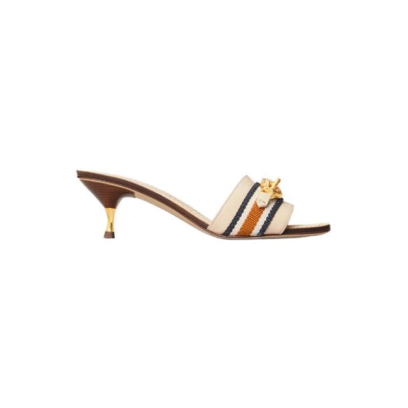 2020 Новая мода весна и лето Люкс Тапочки Мед Каблуки из натуральной кожи вышивают вскользь Женская Обувь