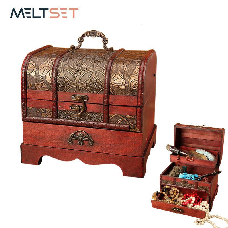Trinket Jewelry Gifts Storage Box Handmade Vintage Wooden Treasure Case Wood