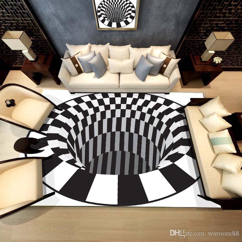 Tapis 3D Tapis de luxe Illusion d'optique Antidérapant Salle de bains Salon Tapis de sol Impression 3D Chambre à coucher Salon Chevet Table basse Tapis