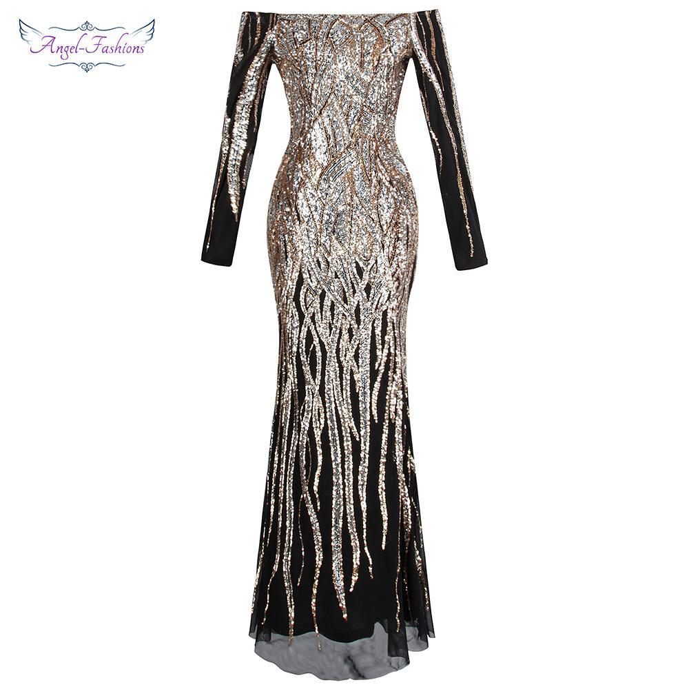 Angel-fashions das mulheres fora do ombro manga longa vestidos de noite twinkling lantejoula partido do vestido de ouro 404 y19051401