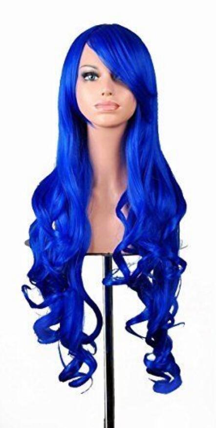 """PERUK Sıcak isıya dayanıklı Parti hairWigs 32 """"Cosplay Peruk Uzun Tam Spiral Kıvırcık Dalgalı Postiş Ücretsiz Kap Koyu Mavi"""