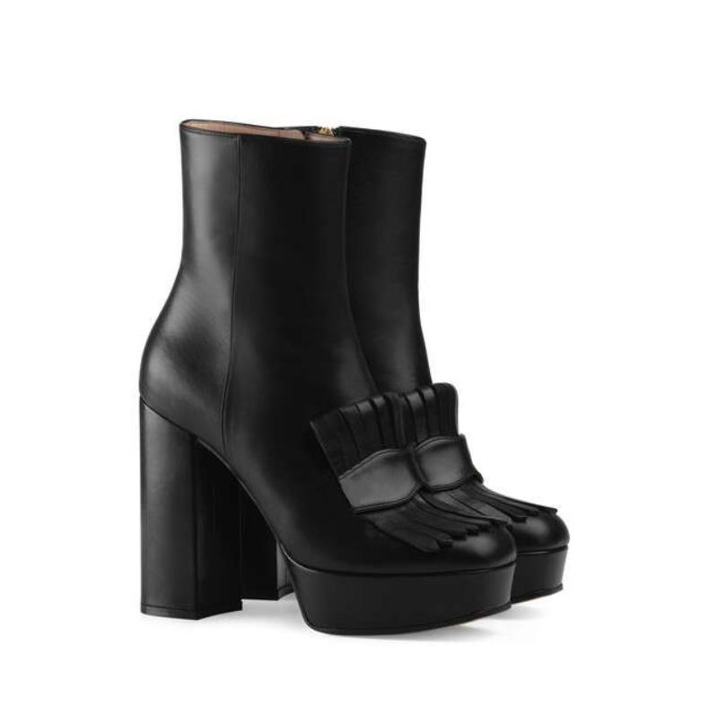Frangé Acheter Femmes Plate Botte Bottes En Cuir Designer Luxe Mi Cheville Botte Abeille Solide Marmont Forme D'hiver Couleur Talon Chaussures Brodé 5Aq3LScRj4