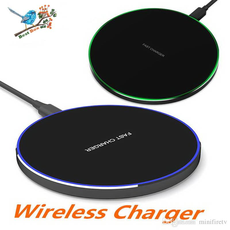 Wireless QI Quick Charger Pad 5V 2A 10W Fast Charging Smooth Metal Cellphone With LED Design For Iphone Xs max For Huawei Xiaomi