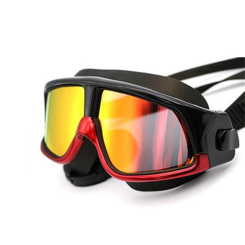 Плавательные очки Удобная силиконовая большая рамка плавать очки Anti-Fog UV Мужчины Женщины Swim Маска Водонепроницаемый