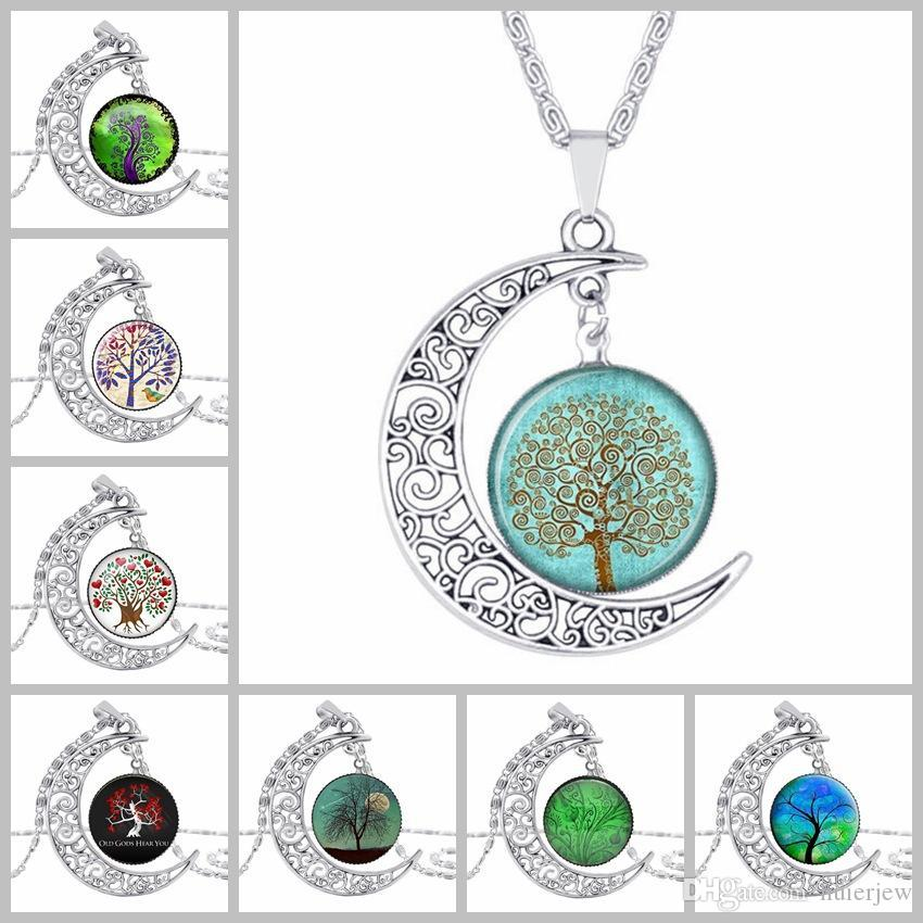 Choker Necklace Fashion Jewelry Galaxy Art Glass Cabochon Moon beautiful Necklace Antique Silver Tree Of Life Statement Necklaces & Pendants