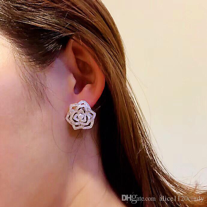 Mode argent 925 Rose romantique fleur cristal dormeuses cz boucle d'oreille élégante Camellia fleur boucle d'oreille mariage partie jewelryBijoux