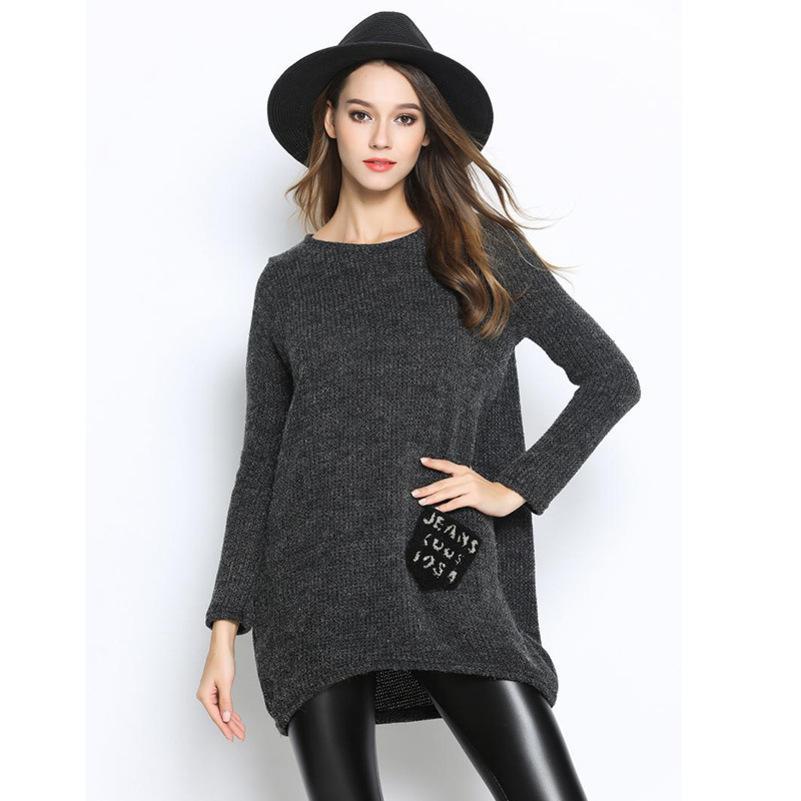 Frauen Designer Herbst Normallack Taschen Hüfte Langarm pullover T-shirt0CML