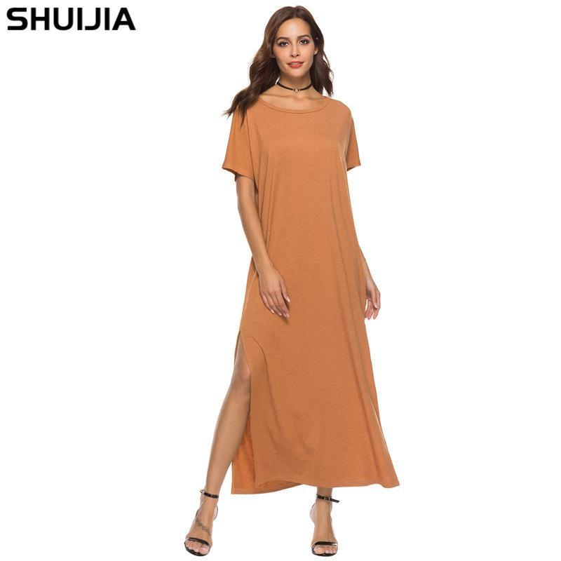 mulheres designer de 18 grande oscilação de cor sólida vestido 95I9