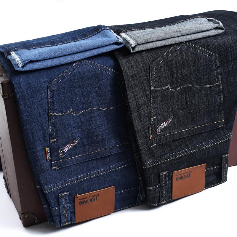 высокое качество 42 44 46 Мужские тонкие легкие джинсы лето Новый бизнес Повседневный Stretch Классический Джинсовые брюки Тонкий Fit прямые брюки