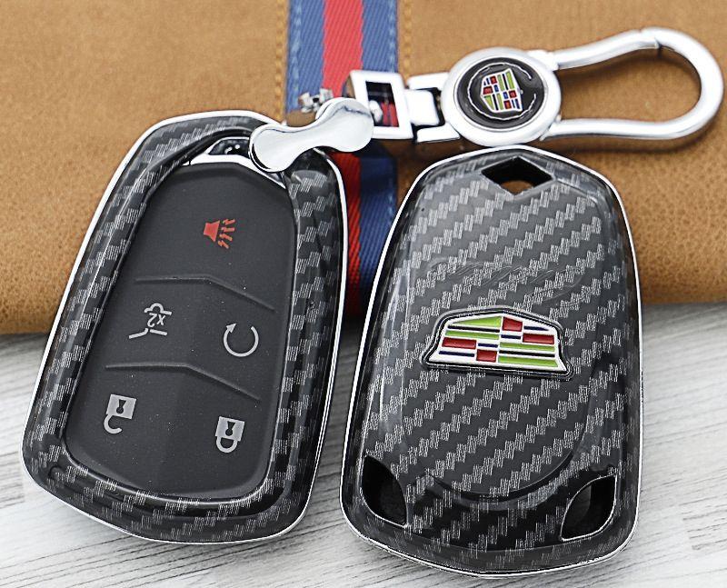 Cadillac ATS-L XTS CT6 CT6-Plug in ESCALAD XT5 chiave in fibra di carbonio custodia protettiva caso della copertura di shell per Cadillac portachiavi auto portachiavi