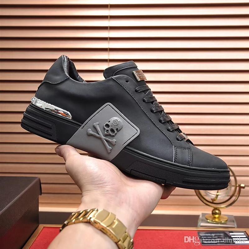 la calidad de los hombres de la aptitud ocasional de cuero de zapatos del diseñador de moda para hombre negro a juego en color cuero cómodo Zapatos ocasionales planos diario JOGG